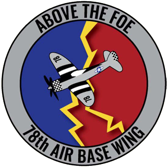 78 ABW logo, Blue and red background with an airplane and lightning